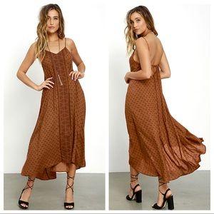 Amuse Society Sakura Brown Print high low dress